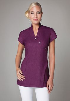 Spa Tunic with crossover diamante buttons | Spa Uniforms | Buttercups Uniforms