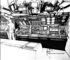 Syd Mead: Airlock adapter concept sketch Photo: Reference for the back side of the airlock adapter. The final version seen in the movie is similar, but . Cyberpunk, Sci Fi Environment, Environment Design, Soldado Universal, Science Fiction, Syd Mead, Spaceship Interior, Mekka, Tecno