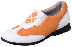 Bali Mango Orange & White slip-on golf shoe-Sandbaggers Golf Shoes