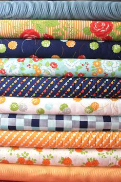 Happy Go Lucky by Bonnie and Camille for Moda Fabrics, Orange Fat Quarter bundle 10  total on Etsy, $30.00