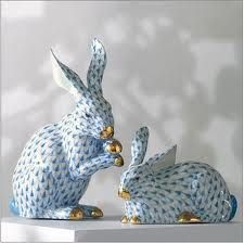 Herend Hand Painted Porcelain Figurines Two Rabbit Figurines Blue Fishnet Gold Accents.