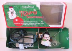 Merry Fishing Snowman Christmas Ornament, The Enchanted Workshop, Animated, 1992 #EnchantedWorkshop #Fishing #Snowman
