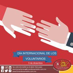 Día Internacional de los Voluntarios   5 de diciembre  En Funerales San Isidro reconocemos la labor de los voluntarios y las voluntarias en todo el mundo, y todo lo que hacen para que la paz y el desarrollo sostenible sean una realidad. #VoluntariosenAcción