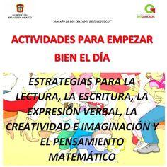 Compartimos estas excelentes actividades para empezar bien el día: estrategias para la escritura, la lectura, la expresión verbal, la creatividad