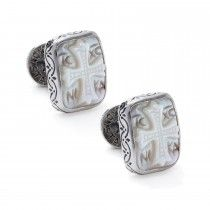 Konstantino Sterling Silver and Mother of Pearl Intaglio Cufflinks
