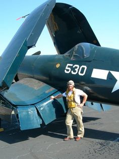 The Corsair wings were bent in order to make room for the larger engine.