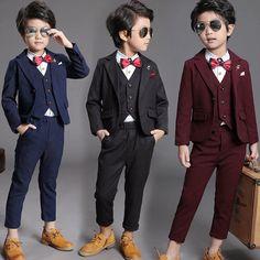 e4613b72f457a Chic 3Pcs Kid Toddler Boy Formal Suit Coat+Pants+Vest Outfit Clothes For  Wedding
