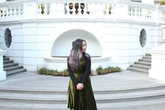 How To Layer Backless Velvet Dress and Sweater in White House