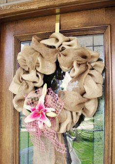 Atta Girl Says   Burlap and Lily Spring Wreath   http://www.attagirlsays.com