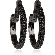 MCL Small Black Spinel Pave Hoop Earrings (£585) ❤ liked on Polyvore featuring jewelry, earrings, accessories, brincos, bijoux, black spinel hoop earrings, black earrings, womens jewellery, hoop earrings and matthew campbell laurenza