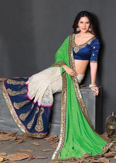Green Georgette Wedding Saree 63778  #WeddingSarees #OnlineShopping