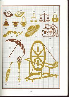 spinning wheel scales books hat umbrellas cross stitch point de croix
