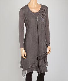 Love this Gray  Layered Linen-Blend Handkerchief Tunic by Pretty Angel on #zulily! #zulilyfinds