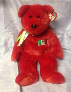 TY Bear Plush Beanie Buddies OSITO Large 1999 Retired Mexican Flag 14