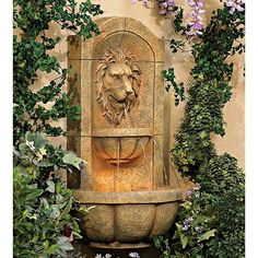 Lion Head Faux Stone Wall Fountain for sale online Outdoor Wall Fountains, Garden Fountains, Outdoor Walls, Outdoor Decor, Water Fountains, Fountain Garden, Garden Ponds, Koi Ponds, Garden Water