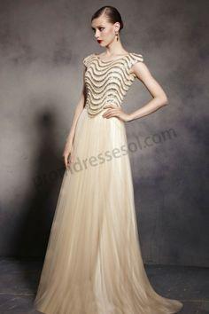 Champagne Unique Sequin Round neck A-Line Prom Dress SO553