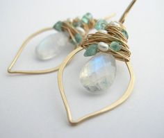 Rainbow Moonstone Earrings with Apatite by SarahHickeyJewellery, $130.00