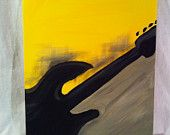 $45 Guitar Silhouette Yellow Gray Black Abstract Original Painting