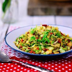 Shaved Sprout Salad: Gluten free - Dairy free - Vegan. Brussel Sprouts are not only high in protein, iron and potassium but contain an array of other benefits that can boost your overall health. Not a fan of brussel sprouts? Try this salad and I can guarantee you will be converted!! Recipe is in '12 Foods of Christmas' Ebook at www.kaylaitsines.com.au #kaylaitsines #workout #gym