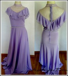 Retrospect-Vintage Fashion 70's Lavender Purple MAXI DRESS, S