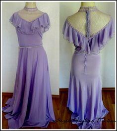 Retrospect-Vintage Fashion 70's Lavender Purple MAXI DRESS, S