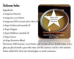 Sickness balm to help support immunity and help a body recover faster when sick. Get essential oils at www.mydoterra.com/agree.   Click on the graphic to join my FB Essential Oils group.