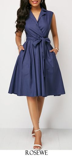 Belted High Waist Navy Blue Dress.#Rosewe#dress#womensfashion