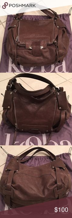 Kooba Hobo Handbag This bag is in like new condition and is made of a soft, buttery leather. Original price was $498. Measurements 16 W x 10.5 H x 6 D. Dust bag included. Kooba Bags Hobos