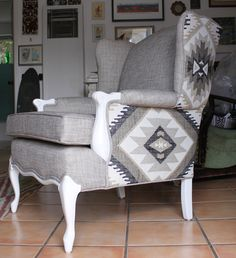 Reupholstered Wing Back Chair with Aztec Print. via Etsy.