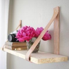 Wood & Leather Suspended Shelf. DIY