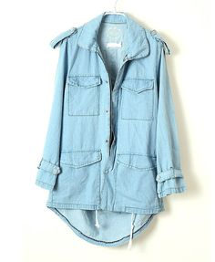 Longline High Low Denim Jacket with Pockets Detail and Cold Back