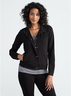 Plus Size Stand Collar Zip Front Jacket in Organic Cotton Stretch Jersey