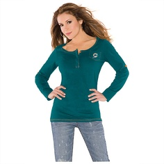 Touch by Alyssa Milano Miami Dolphins Sideline Henley Top