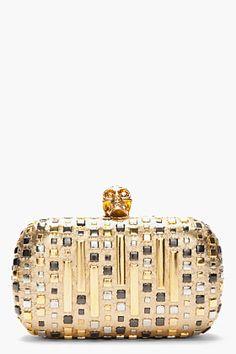 ALEXANDER MCQUEEN Gold studded Classic Skull box Clutch