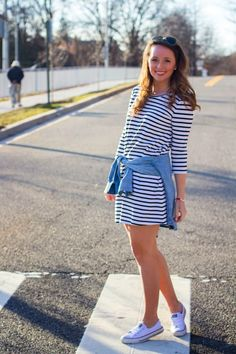 Southern Anchors - striped dress with a chambray tied around your waist!