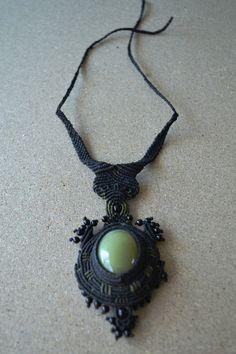Night Warrior Necklace/ Macrame Necklace/ Macrame Jewelry/ Peruvian Jewelry/ Fiber Art/ Healing Stone/ Onyx Gemstone