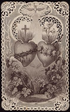 Devotion card to the Sacred and Immaculate Hearts of Jesus and Mary.