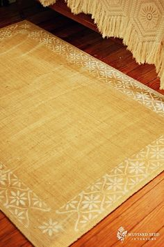 stenciled jute rug. great idea! i need new door mats. these would be perfect with a chevron stripe stencil!