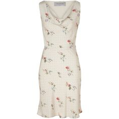 Classic and feminine VALENTINO cocktail dress in pure ivory silk with small floral motif. Lightweight, sleeveless sheath style with elegant draped cowl neck. (Costs about 1,295 CAD). Perfect choice for a bride to be to wear at her bridal shower. Also would be great for a guest to wear to a summer/garden wedding or uniquely as a bridesmaid's dress. From yellyjelly's Polyvore