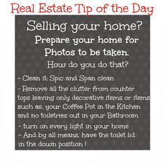Real Estate Tip of the Day when selling a home in South Florida or anywhere! - Selling House Tips - Ideas of Selling House Tips - Real Estate Tip of the Day when selling a home in South Florida or anywhere! Real Estate Career, Real Estate Business, Real Estate News, Selling Real Estate, Real Estate Marketing, Home Selling Tips, Selling Your House, Real Estate Quotes, Sell Your House Fast