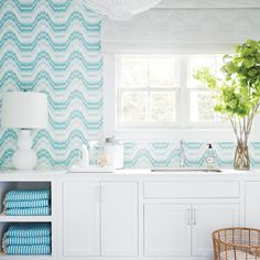 turquoise and white laundry room | 2016 Coastal Living Magazine Hamptons Showhouse
