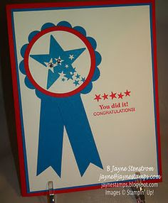 """Sprinkled Expressions Sale-a-Bration Stamp set """"blue ribbon card"""".  Card CASE-d from Dawn O."""