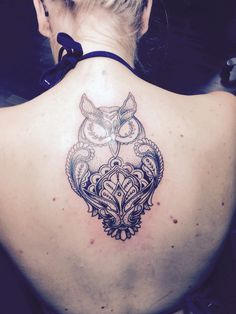 Owl tattoo by Aaron Is, design by Emma E. Uggla tatuering