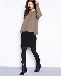 Eileen Fisher Ottoman Skirt            Brown & black, boots, longer skirt ...