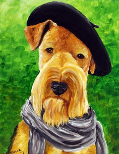 Airedale Terrier Sticker Dog Med by RMBArtStudio on Etsy, $0.75