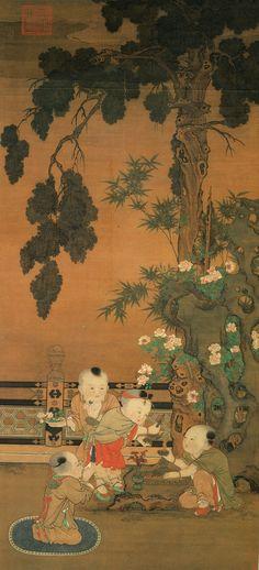 北宋 - 蘇漢臣 - 灌佛戲嬰圖  (軸)            159.8×70.6cm,台北故宫博物院藏。