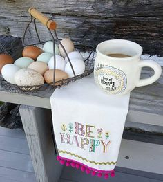 Fresh eggs and coffee. Always a good thing!  #coffee #fresheggs #naturallife #teatowel #countryliving #farmfresh