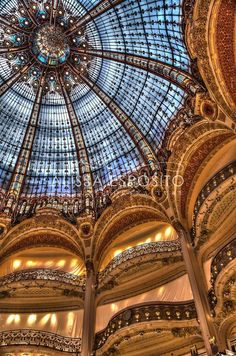 Paris, France, Stained Glass, French Travel Photography, Galleries Lafayette, Home Decor Order a Print at https://www.etsy.com/listing/174437440/paris-france-stained-glass-french-travel?