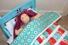 Refinished doll bed and doll quilt