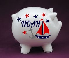 1000 images about nautical babies room on pinterest nautical nursery nautical and - Nautical piggy banks ...